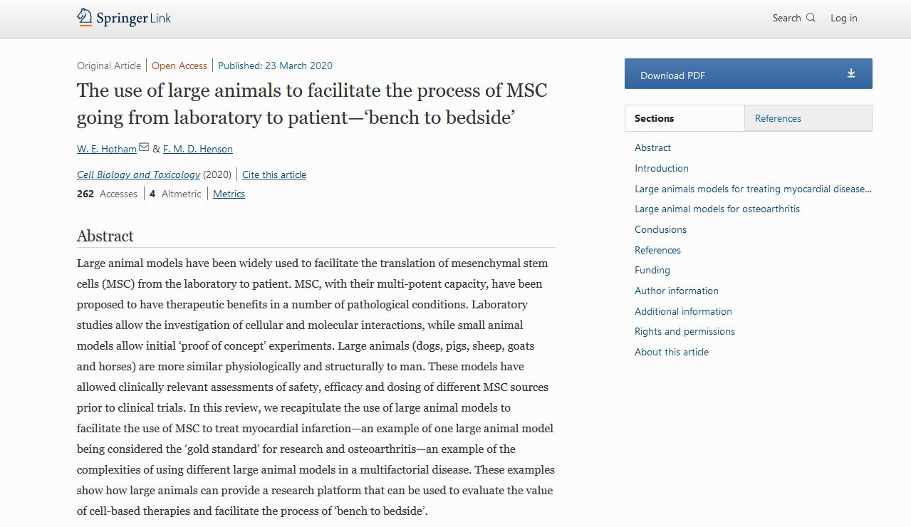 The use of large animals to facilitate the process of MSC going from laboratory to patient—'bench to bedside'